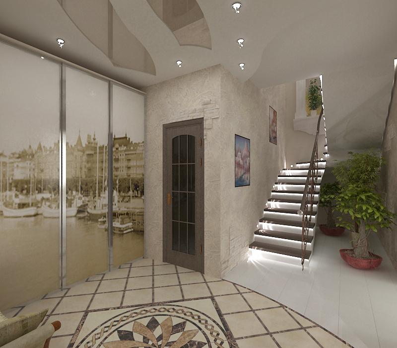 Прихожая. Не большая. На полу интересный узор выложен из плиточек. С боку шкаф, двери на которого наклеена картина с изображением старого порта, в цвете сепия.