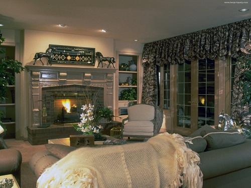 интерьер гостиной на даче