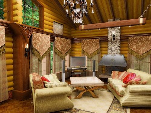 интерьер гостиной кантри