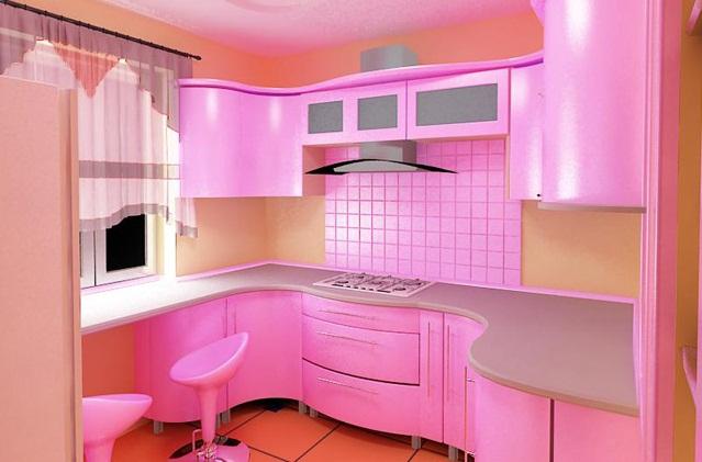 Розовые кухни фото дизайн