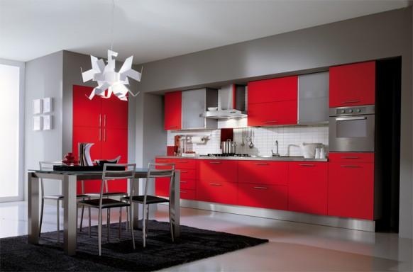 Описание: красная кухня фото - Мебель своими.