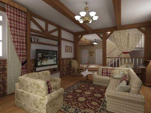 интерьер гостиной дачи